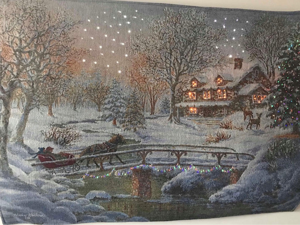 Celebrate the season with this Thomas Kinkade Fiber Optic Victorian Christmas III Tapestry Wall Hanging.