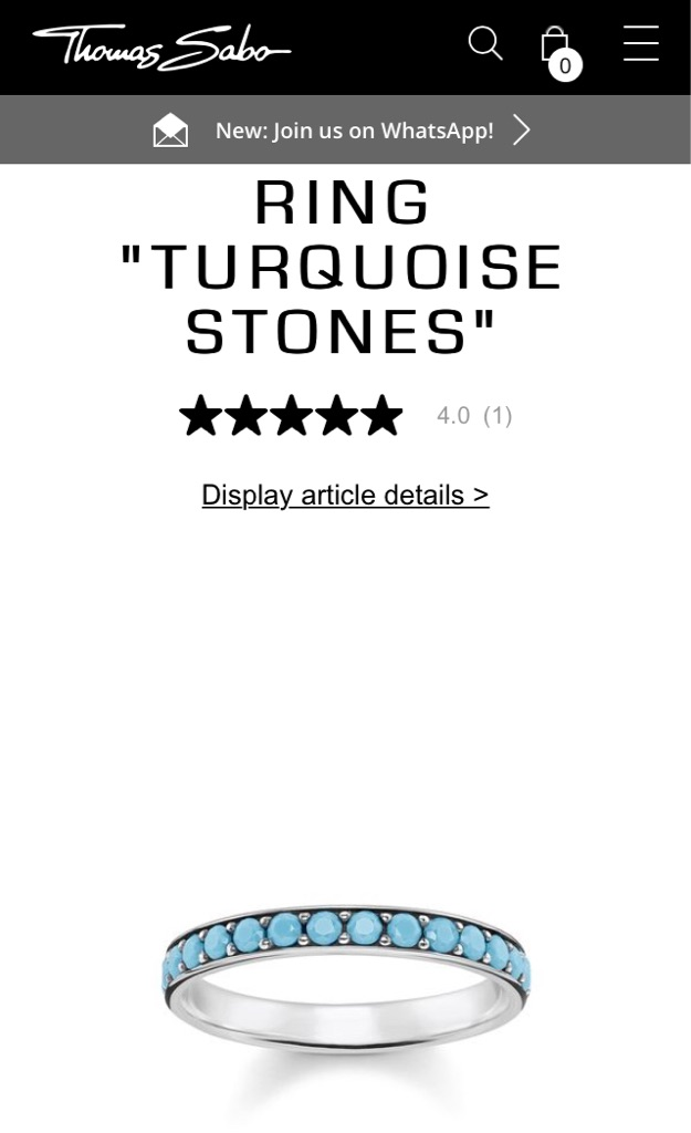 Thomas Sabo BRAND NEW Ring Turquoise Stone - Sterling Silver