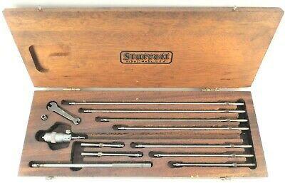 """Vintage Starrett 124-B Micrometer 2-12"""" .0001"""" Grad 10 Rods Machinisit Tool Box"""