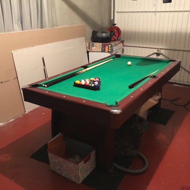6ft by 3ft slate bed pool table