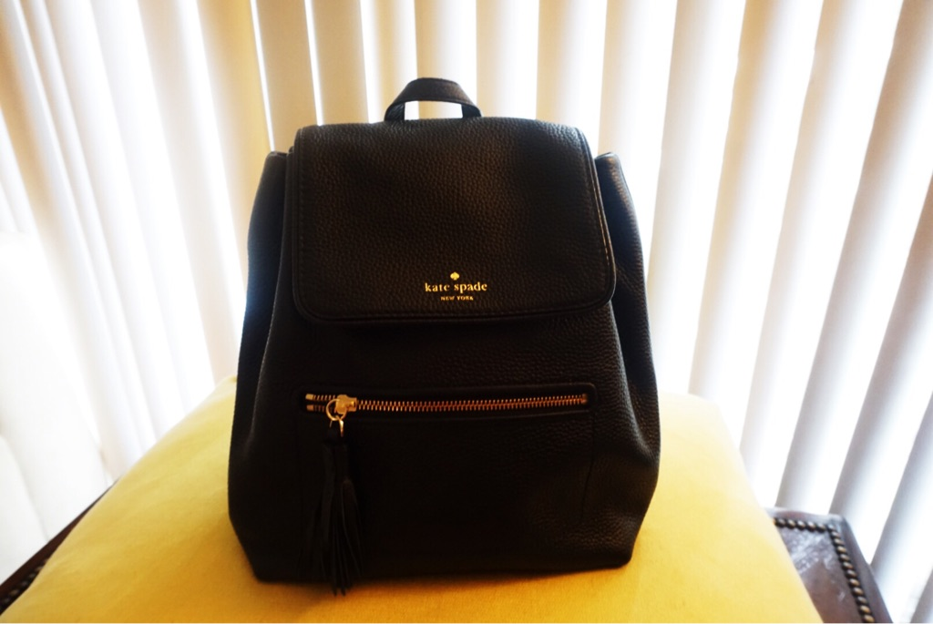 Authentic Kate Spade New York Black Leather Backpack
