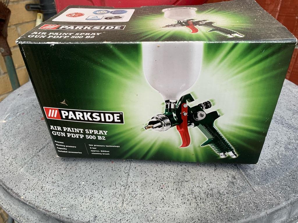 Spray guns, air compressor, tools +