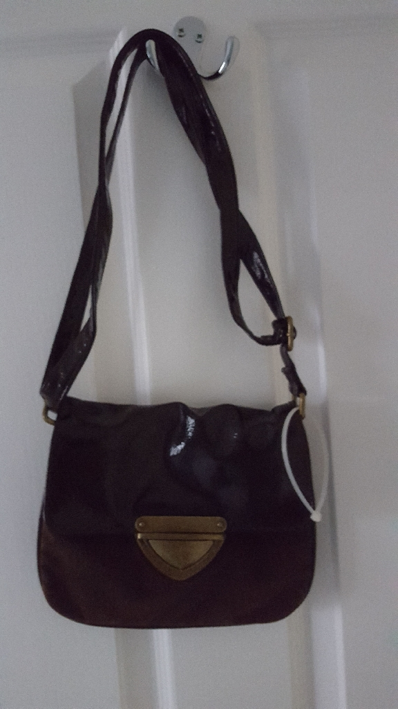 Brown patent & faux suede bag