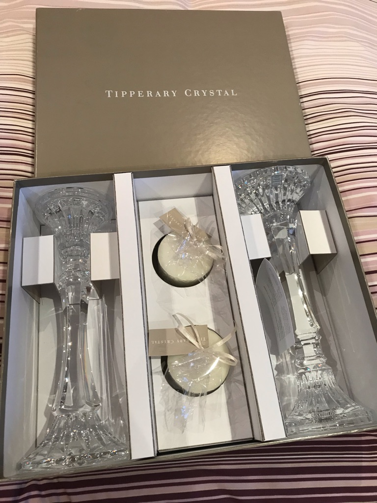 2x Tipperary Crystal candle holders and candles