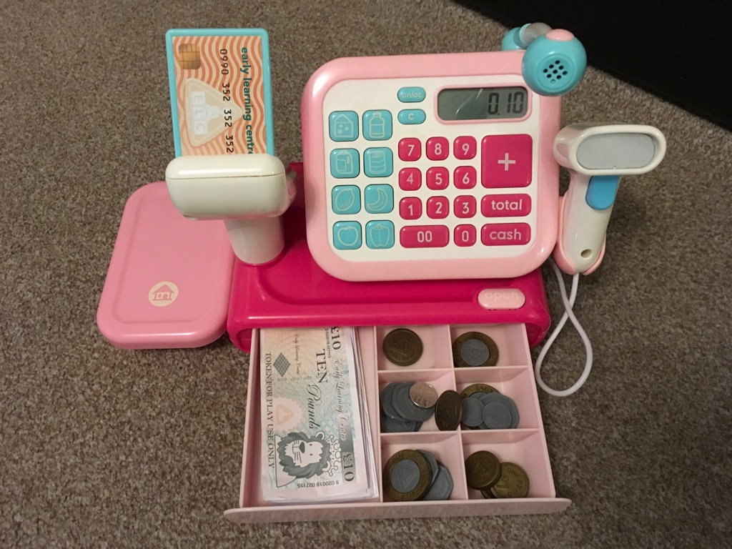 ELC Pink Cash Register With Sound & Microphone inc Toy Money (Notes & Coins)