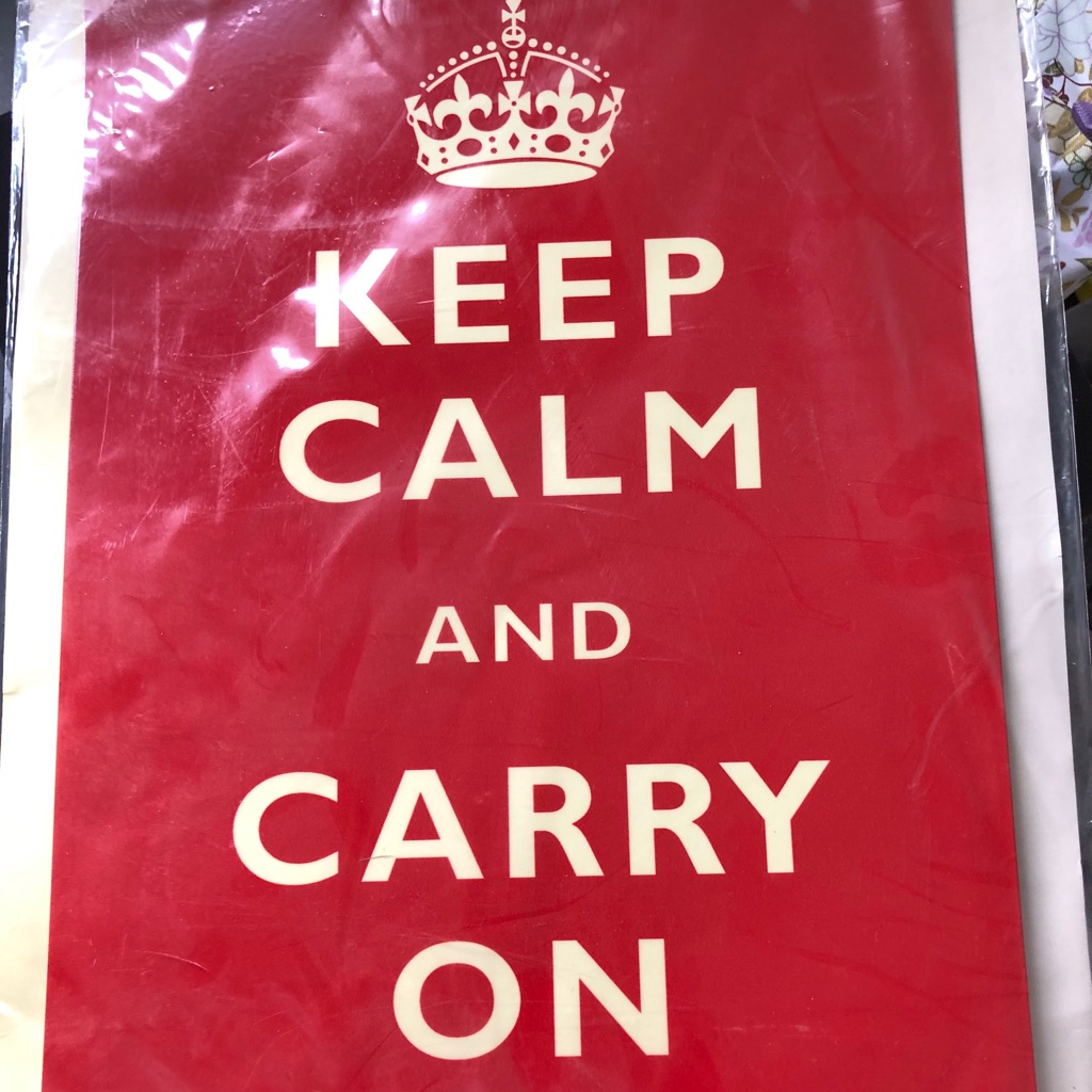 ALUMINIUM KEEP CALM AND CARRY ON PLAQUE