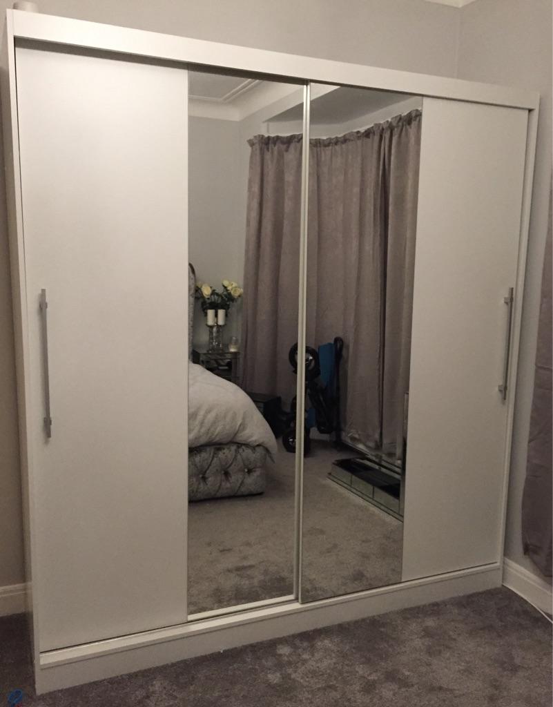 White mirror wardrobe