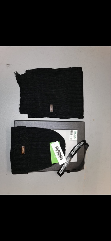 Brand new Hugo boss brown or black hat and scarf set
