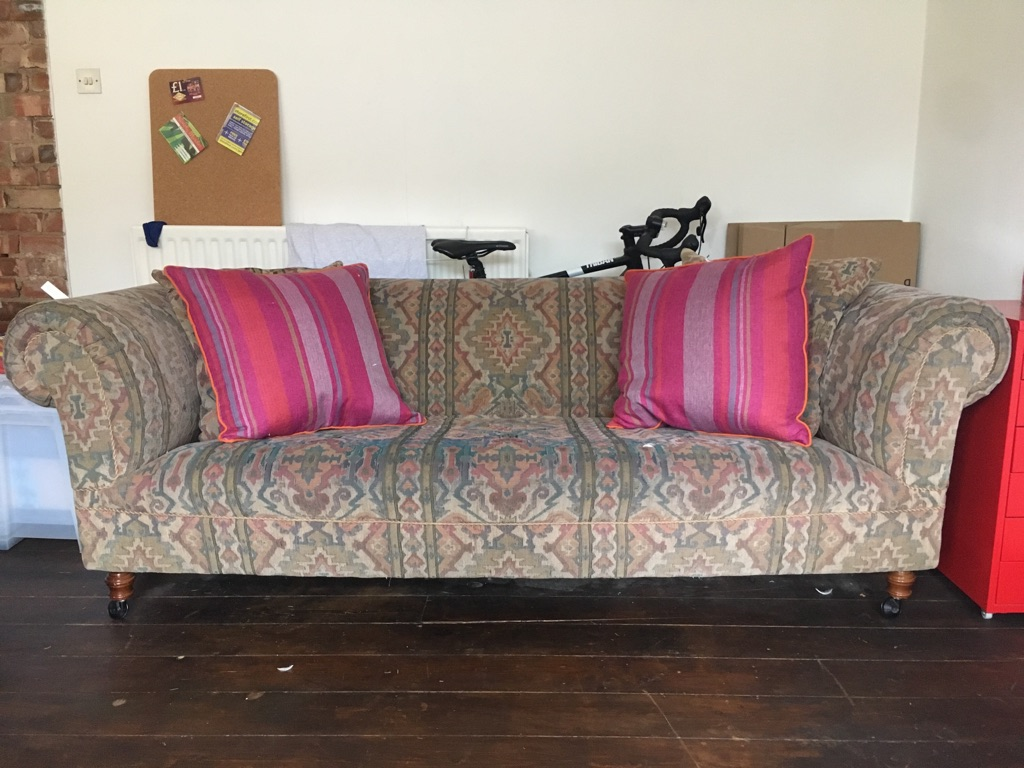 Aztec tapestry three seater sofa