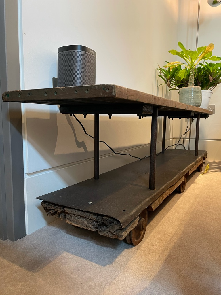 Reclaimed wooden trolley / TV stand