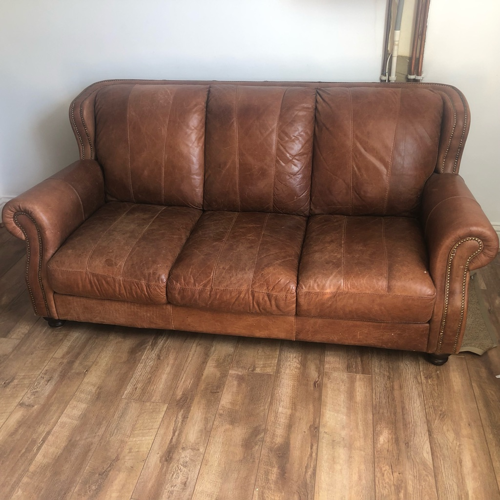 Dfs Tan Leather 4 Seater Sofa Village