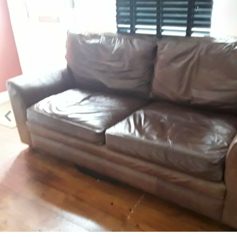 Chocolate brown leather settee for sale