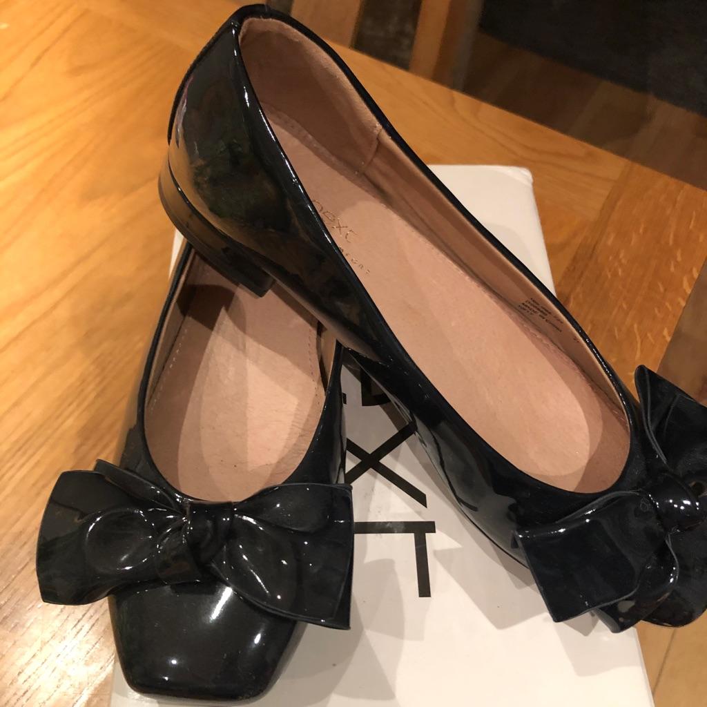 Next Patent Navy Blue Ballerina shoes
