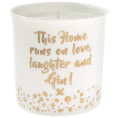 Gin & floral candle- gold mad dots design
