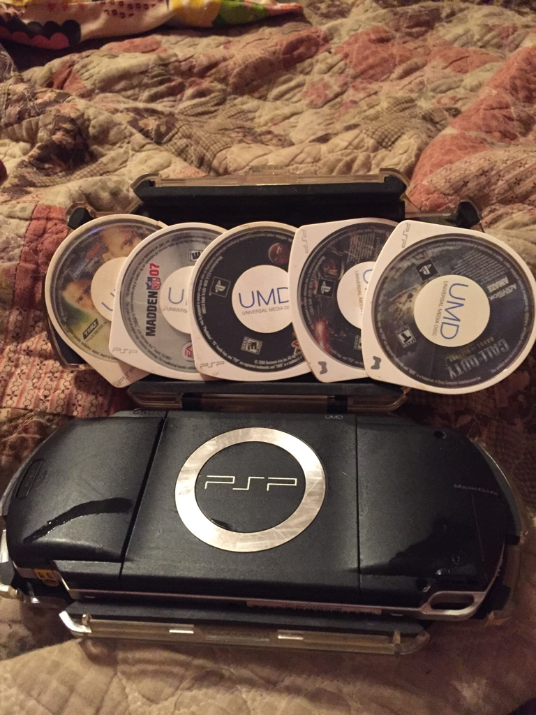 5 PSP games and PSP the screen will not comment on.  It needs a new batteries for it
