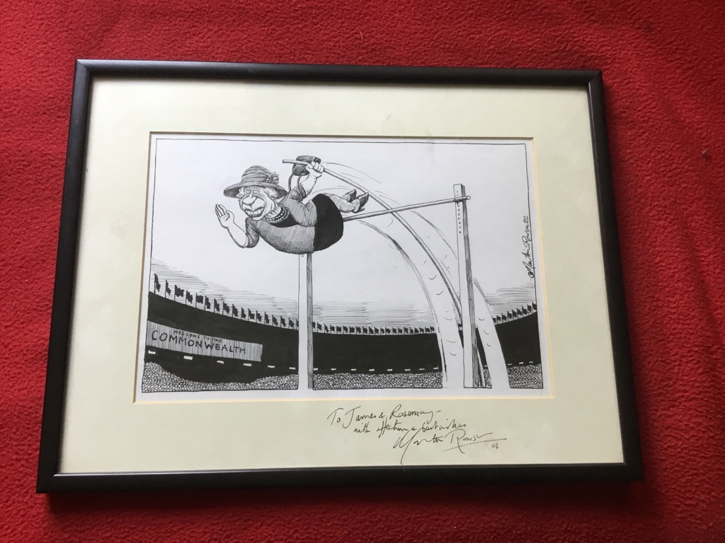 Pen and ink cartoon Signed by Martin rowson the queen doing polevaulting at the commonwealth games pen and ink cartoon Signed twice to me in 2003 and in the picture in 2002 16in 12in Martin rowson cartoonist for the daily mirror