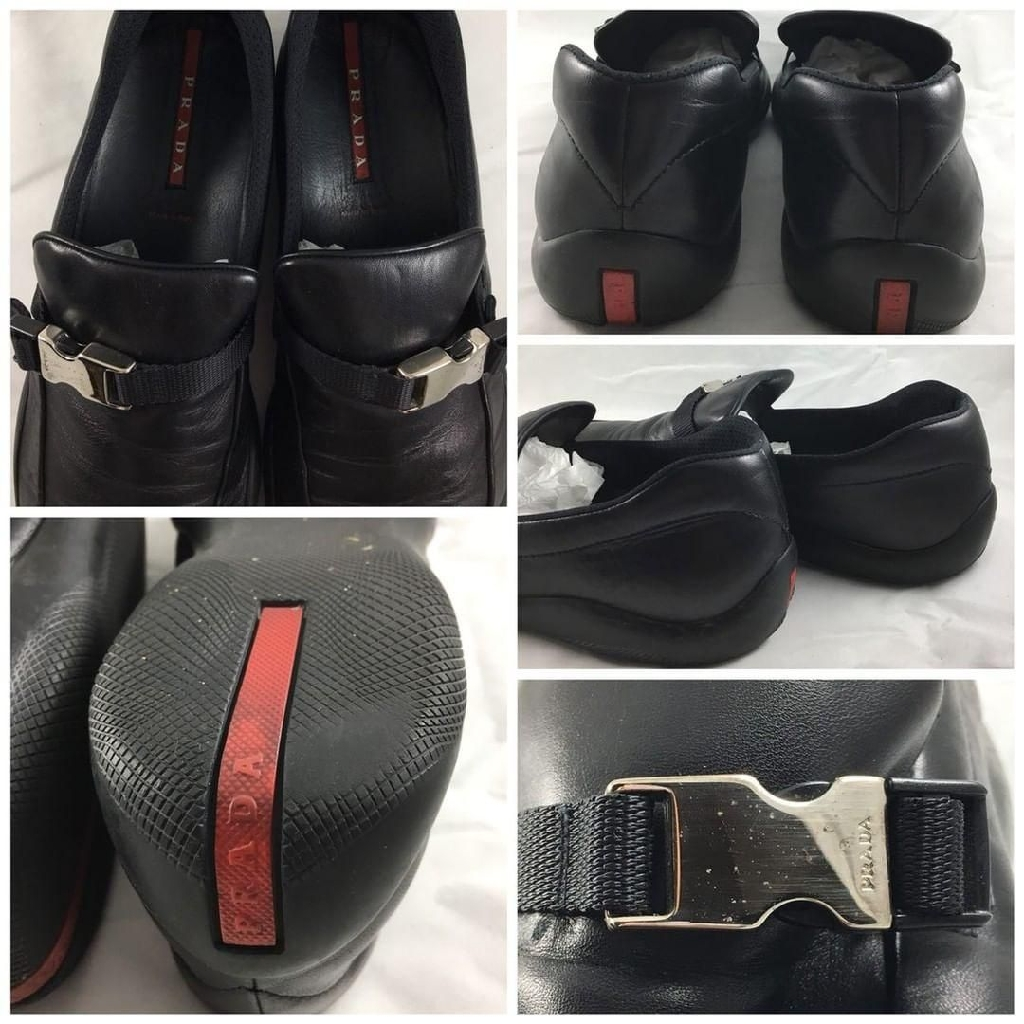 Prada mens black loafers with buckle