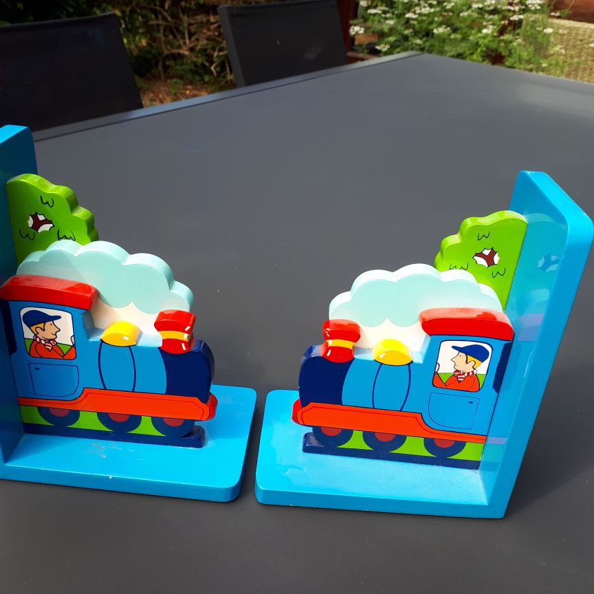 Wooden train book ends