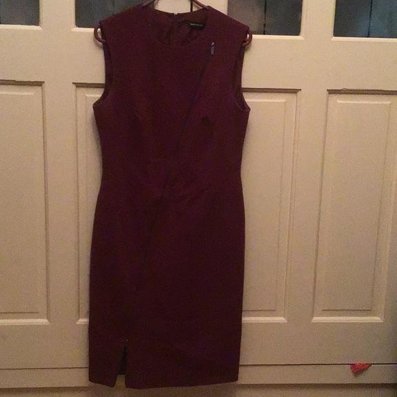 Karen Millen bodycon zip dress ruby red size Large