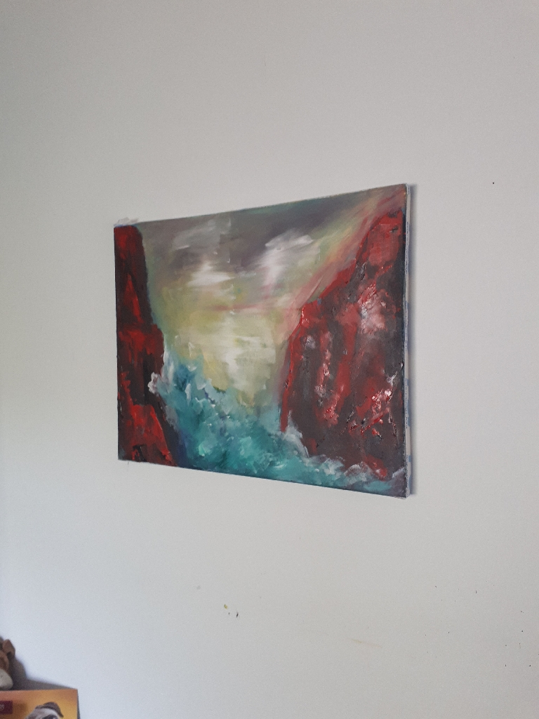 Abstract acrylic painting on canvas.