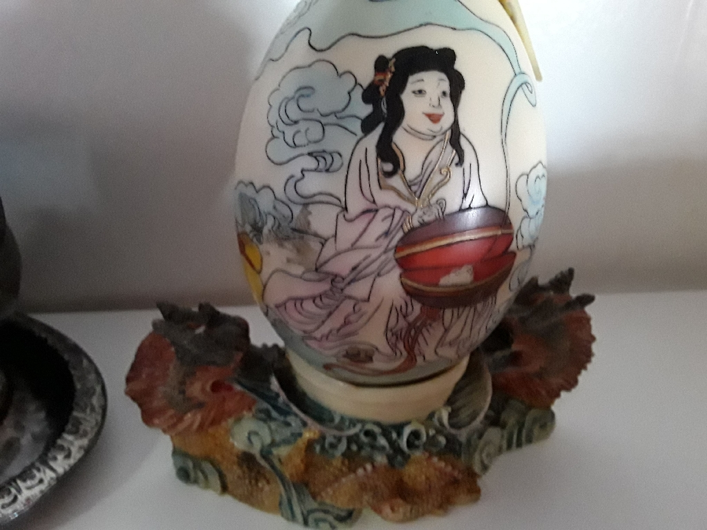 Japanese Enamel Egg and Double Headed Dragon Nest