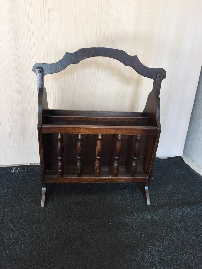 Dark oak vintage magazine rack