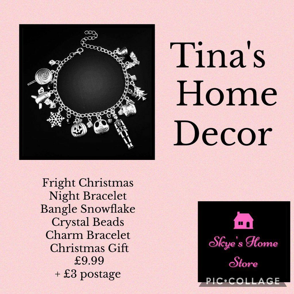 Fright Christmas Night Bracelet Bangle Snowflake Crystal Beads Charm Bracelet Christmas Gift