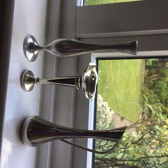 Three metal bud and stem vases
