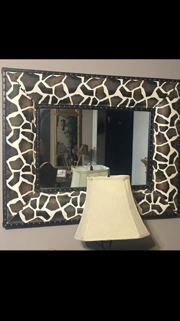 """🦒 Leather """"Brown and tan giraffe print mirror"""