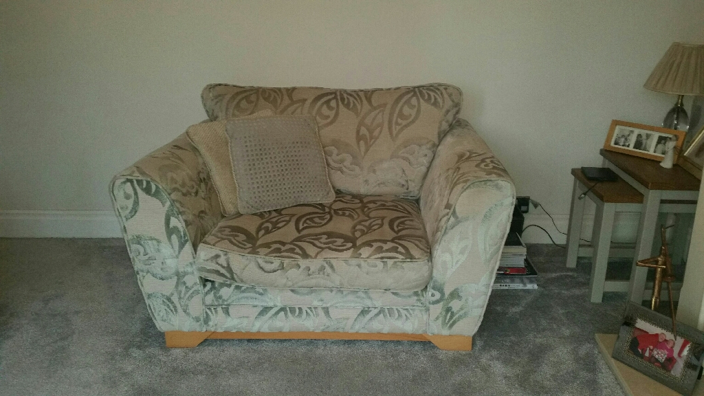 4 seater sofa,  large snuggle chair & storage footstool