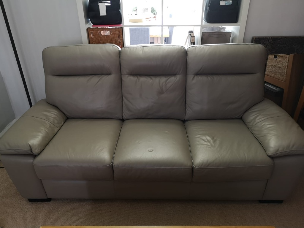 Harveys Leather Grey Sofa