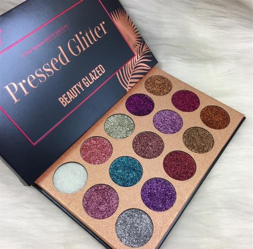 Beauty glazed 15 colours multi-purpose ultra pigmented pressed glitter palette