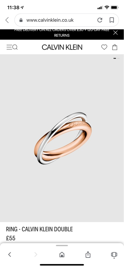 Calvin Klein 2 tone gold plate/stainless steel double Ring - BNWT