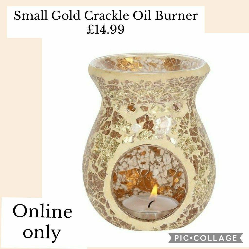 Small Gold Crackle Oil Burner
