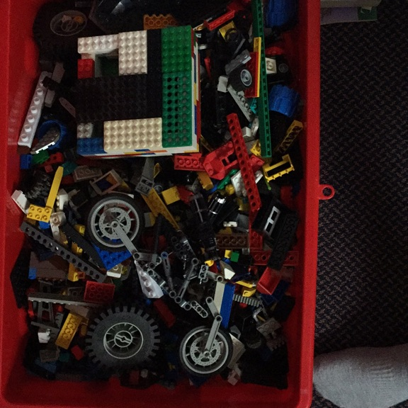 Large box of Lego and other bits and bobs