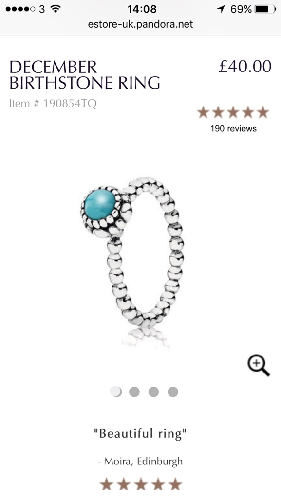 New pandora December birthstone ring size large, approx 7cm circ