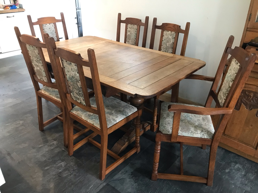 6 x Antique oak tapestry ladder back chairs