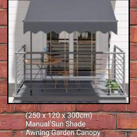 (250 x 120 x 300cm) Manual Sun Shade Awning Garden Canopy Patio Porch Retractable Shelter Dark Grey