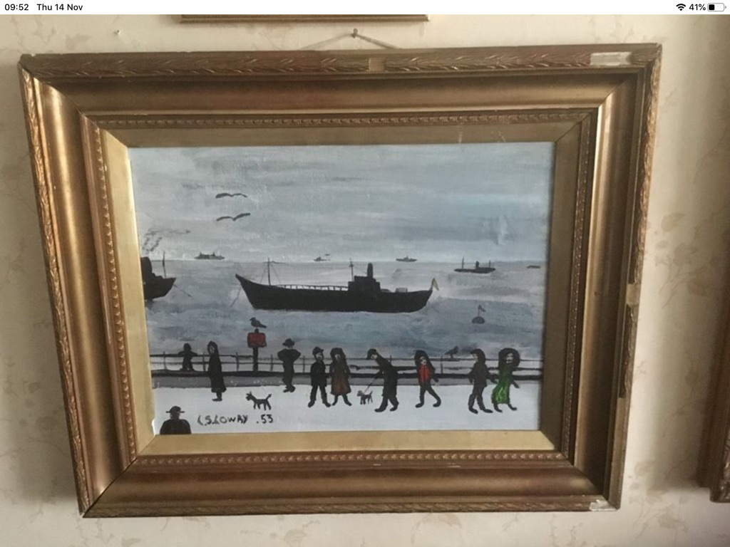 People watching the ships go by oil painting on board 22in 18in