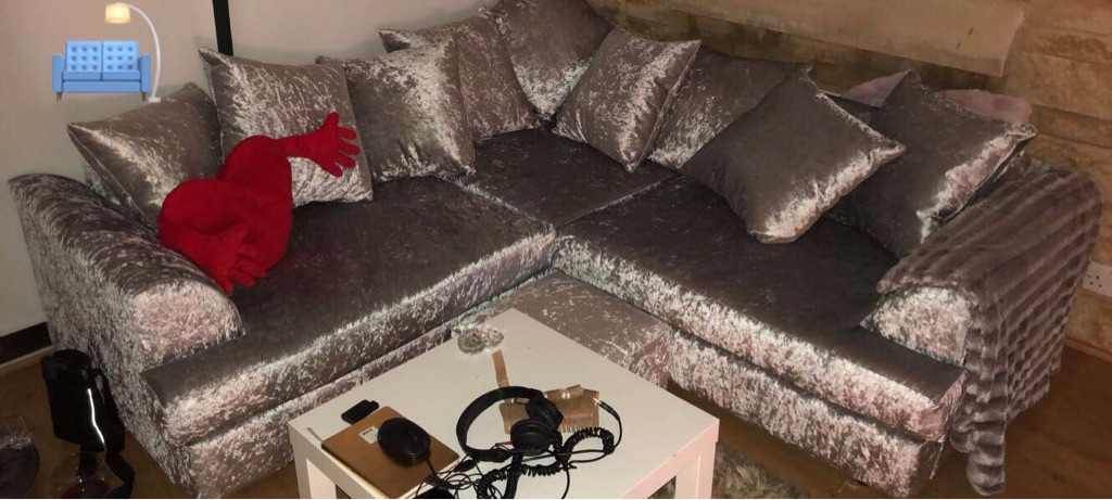 Silver crushed velvet corner group with footstool . Immaculate condition 💎