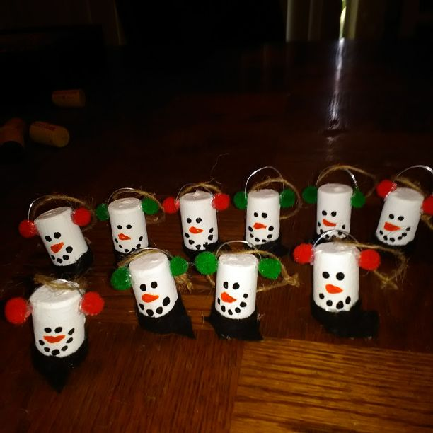Snowman cork ornaments