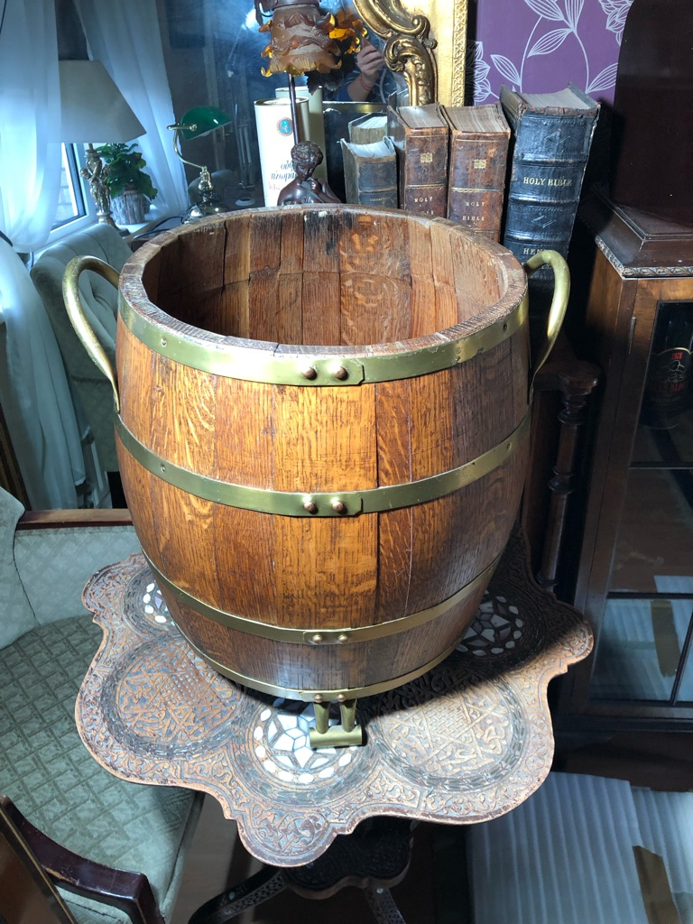 English brass bound solid oak bucket