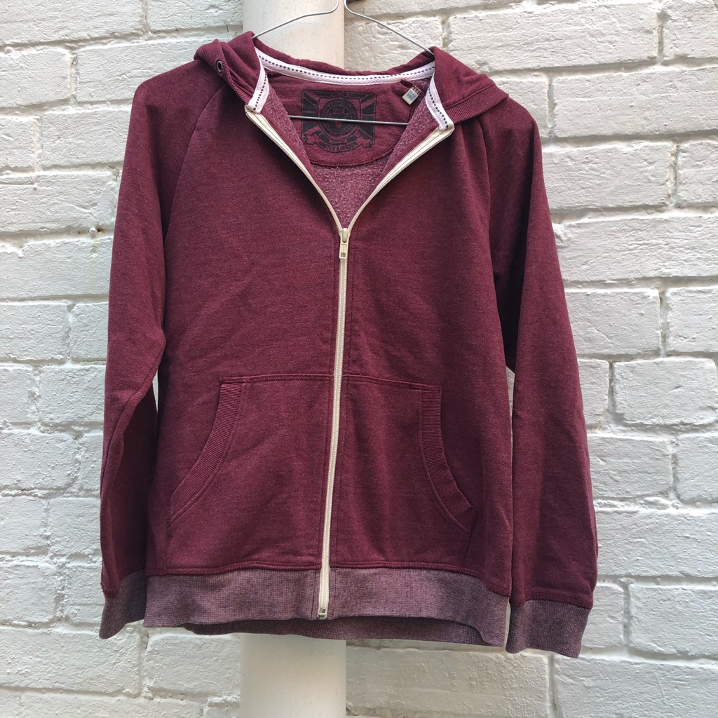 M&S Burgundy hooded zip jacket
