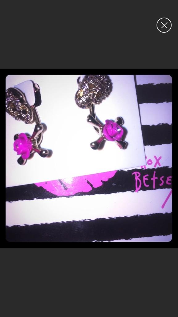 Betsey Johnson Rose Skull Earrings