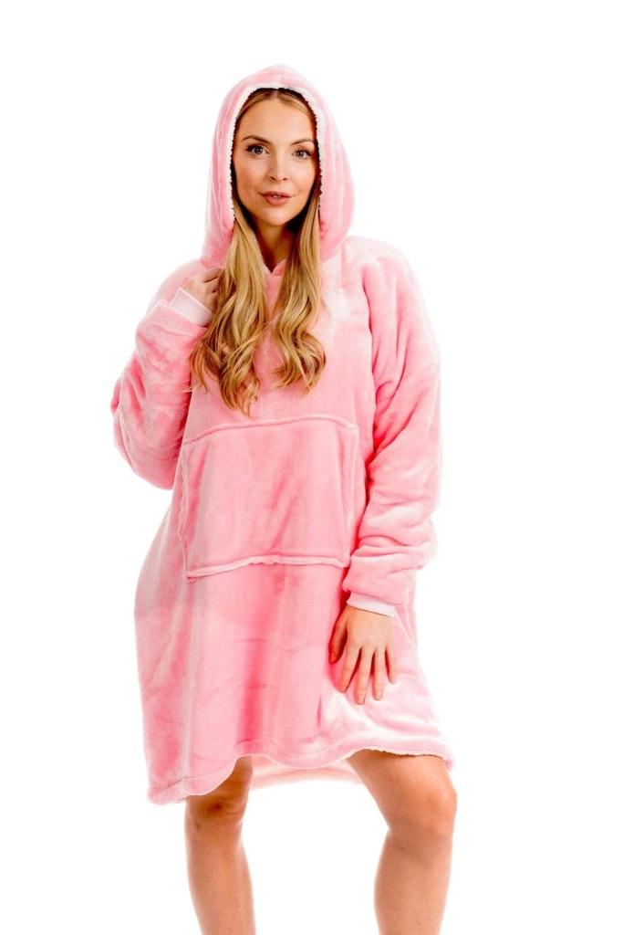 Oversized Hooded Plush Fleece With Reversible Sherpa Blanket
