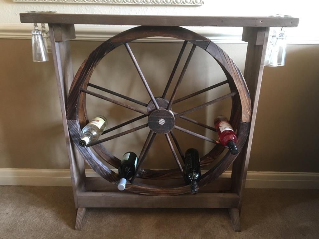 Wooden wagon wheel wine/ gin rack / cocktail bar