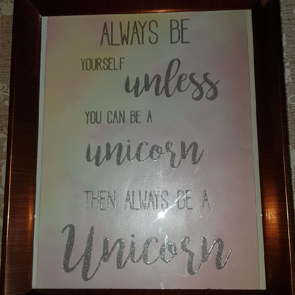 Large framed unicorn picture