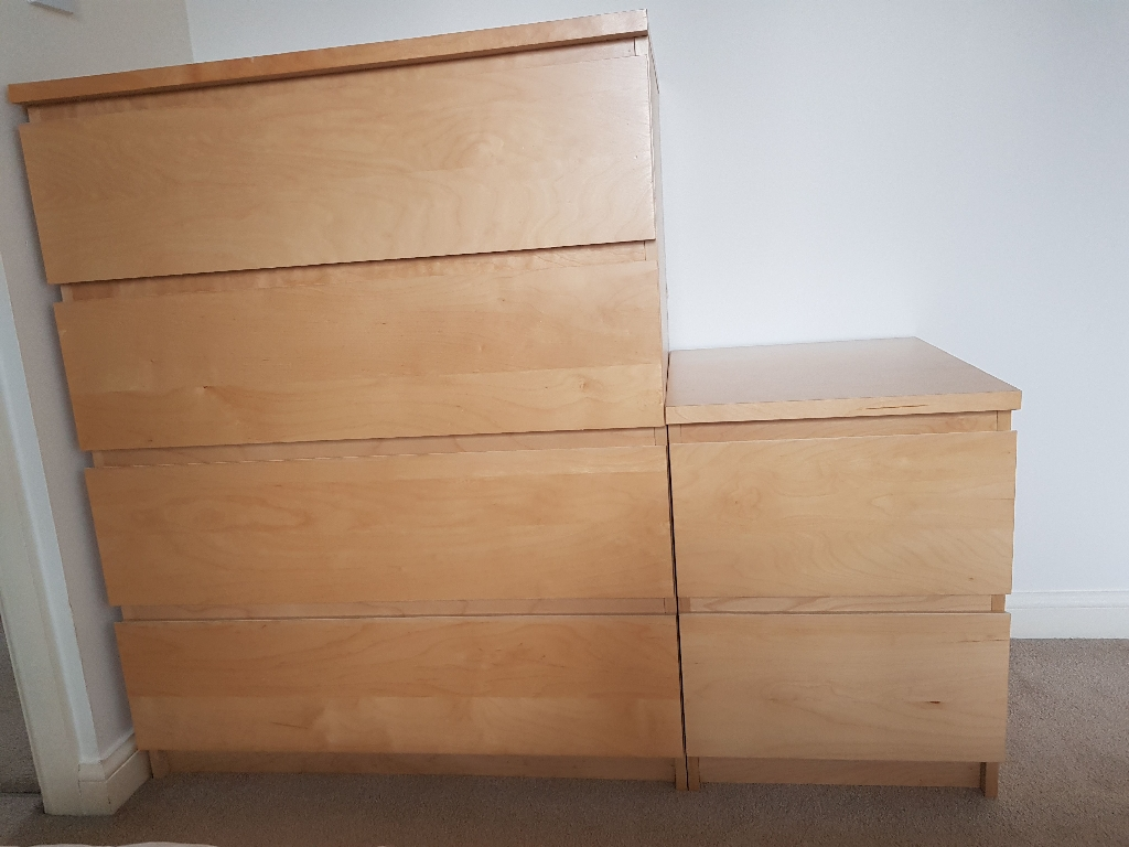 Malm oak chest of drawers