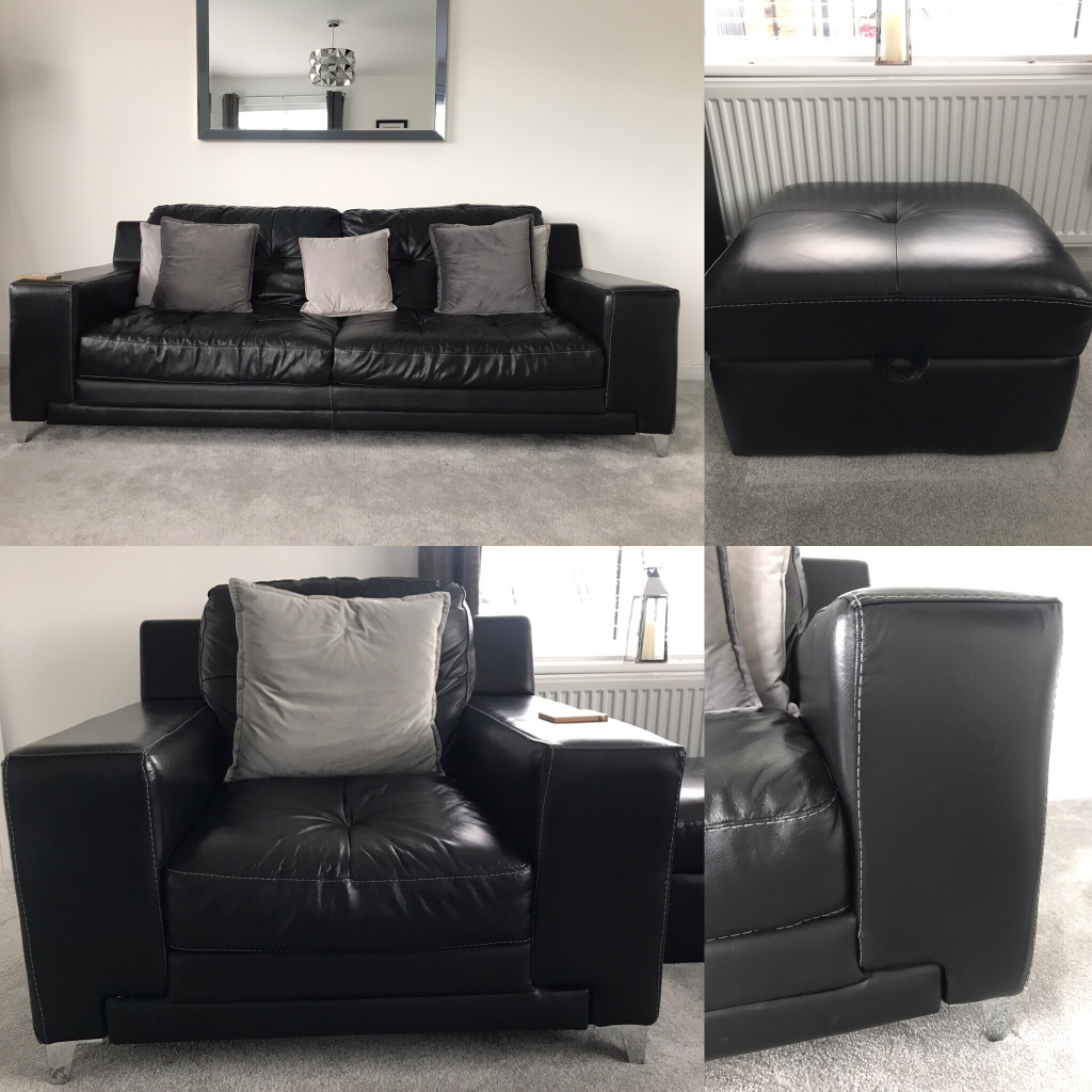 Black leather 3 seater sofa, arm chair and footstool