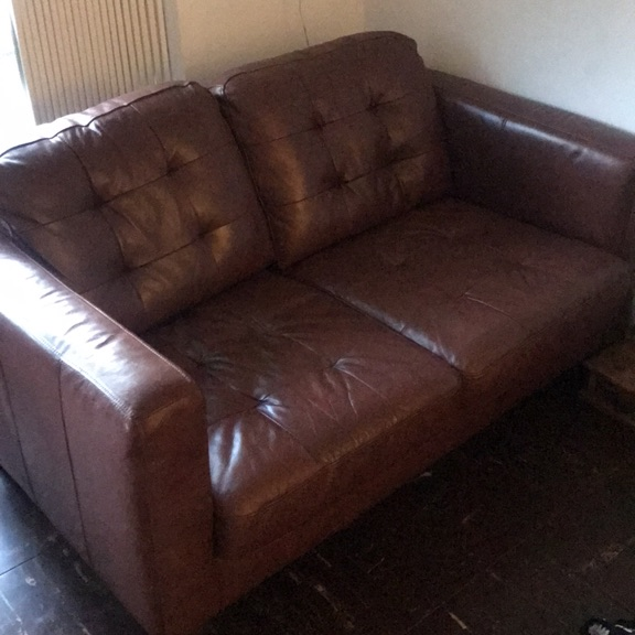 x2 seater brown leather sofa